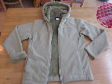 ATHLETA Sz M Womens Green Fleece Zip Front Hoodie Jacket Lined w/ Plush Soft Fur