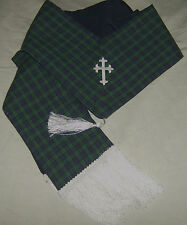 Black Watch blue green Clergy Stole White Celtic Cross  Beautiful