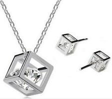 New Hearts and Arrows zircon White Gold Plated Necklace earrings Rubik Set Gifts