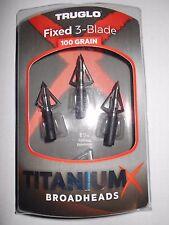 @NEW@ TruGlo TitaniumX Fixed 3-Blade Broadhead! 100grn TG3203AV titanium-X