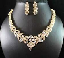 FLORAL GOLD AUSTRIAN RHINESTONE CRYSTAL NECKLACE EARRINGS SET BRIDAL N1601GOLD