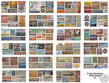 Z Scale Ghost Sign Decals 8.5 x 11 MEGA SHEET #1 - Weather Your Buildings!