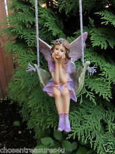 PURPLE DRESS FAIRY ON SWING VILLAGE GARDEN RESIN faerie 20 in. new yard decor