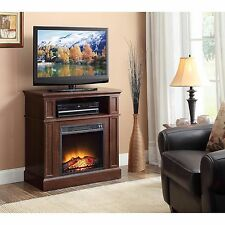 Electric Fireplace Media TV Stand Entertainment Center Real Fire Effect Heater