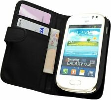 BLACK Wallet Leather Case cover for Samsung Galaxy Fame GT-S6810 / GT S6810P