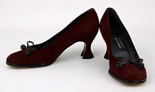 STUART WEITZMAN Women's Wine Red Suede Leather BOW TIE Chunky Kitten Heels Sz 6B