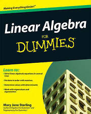 Linear Algebra For Dummies by Mary Jane Sterling 2009 NEW