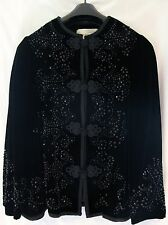 OSCAR DE LA RENTA Embroidered/Beaded Velvet Black Jacket Women's Size 8