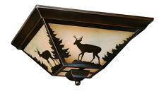 Rustic Ceiling Light Flush Mount Lodge Cabin Lighting Deer Wilderness Decor NEW