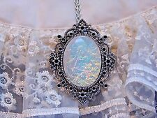 HALLOWEEN LARGE VICTORIAN OPAL WITH FILIGREE SETTING 925 SILVER PLT NECKLACE NEW