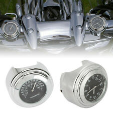 "7/8"" 1"" Handlebar Clock Thermometer Fit Yamaha Road Star Warrior XV 1600 1700"