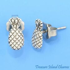 HAWAII PINEAPPLE 925 Sterling Silver Hypo-Allergenic Stud Post Earrings Hawaiian
