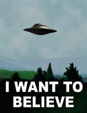 "I Want To Believe - X Files Art Movie Film UFO  Fabric Poster 32"" x 24"""