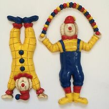 Circus Clowns 2 Vintage Wall Plaque Art Hanging Decor Figures Homco Child Room