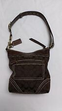 Authentic COACH Dark Brown Firma De Lona Cross Leather/Upholstery Bag- EUC