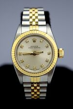 Ladies Rolex Oyster Perpetual 18K Gold Diamond Watch w Papers NO RESERVE 67193