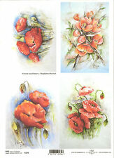 Rice Paper for Decoupage Scrapbooking, Painted Red Flowers Poppies A4 ITD R274