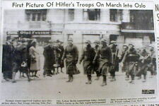 1940 WW II hdlne newspaper w 1st Photo NAZI GERMAN troops march into OSLO Norway