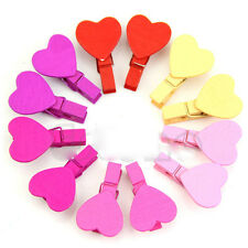 Utility Lots 12Pcs Heart Love Wooden Photo Paper Pin Craft Clips Random 35*7mm