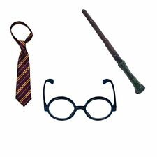 3 piece costume Wizard Harry set Tie Glasses Wand Potter Magic Mystic