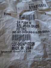 "Imperial 91200 A/B PUSH IN UNION 1/4"" BRASS PUSH IN AIR BRAKE UNION BAG OF 5"