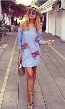 Zara Blue Stripped Embroidered Tunic Dress Size S Uk 8/10 Bloggers Fav