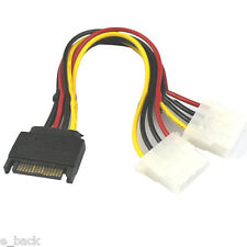 15 Pin Hard SATA Male to 2 Female 4 Pin Molex Female IDE HDD Power Drive Cable