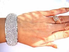 Clear Crystal bracelet silver ballroom dance Bride Wedding performance pageant