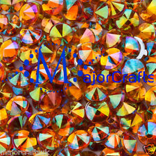 100pcs Orange AB 10mm ss50 Flat Back Pointed Rivoli Acrylic Rhinestones Gems