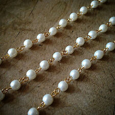 100cm Round Pearl White Bead Necklace Chain 5mm Bead Gold Chain Jewelry Supplies