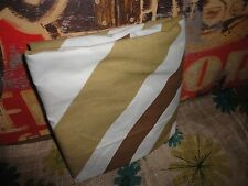VINTAGE BURLINGTON VERA CROSS STRIPES 70'S BROWN TAN WHITE TWIN FITTED SHEET 8""