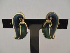 Vintage Blue Green Enamel Abstract Wave Clip On Earrings