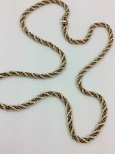 """14K TWO TONE YELLOW AND WHITE GOLD ROPE STYLE CHAIN NECKLACE 25"""""""