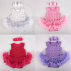 2pcs Infant Toddler Baby Headband+Romper Bodysuit Party Tutu Girl Clothes 0-9M