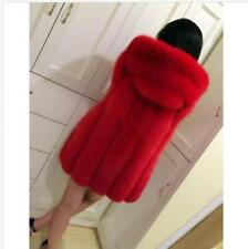 Fashion Women's FAUX FOX FUR VEST COAT Hooded Parka Jacket 11 Color Size S-6XL