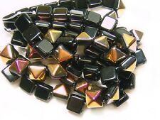 12mm Black Magic Czech Glass 2 Hole Pyramid Stud Beads (6) #103