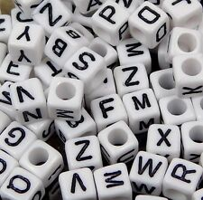 6mm White Black Acrylic Cube Letter Alphabet Beads spacer (100 pcs)