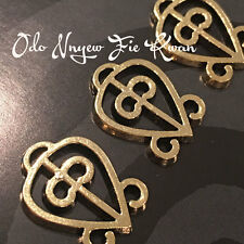 Set of 10 -Odo Nnyew Fie Kwan- Adinkra Antique Gold Charms