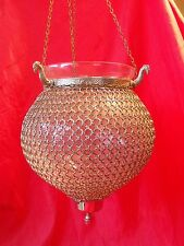 VINTAGE GLASS GLOBE LANTERN CEILING LIGHT CHANDELIER CHAINMAIL CHAINMAILLE