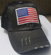 Trucker Hat Low Profile Cotton Mesh Red White & Blue USA Flag Distressed Hat
