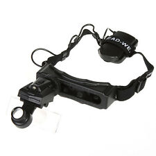 Headband Magnifier Magnifying Glass Headset LED Light Loupe 8Lens Jewel Watch