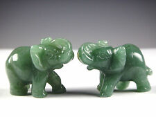 2PC Green Aventurine Jade Stone Craving Lucky elephant Feng Shui statue