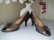 "Sofft Bronze Soft Leather Peep Toe 3"" Heel Womens Shoes Size 8 M"