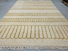 Genuine Vintage 1980-1990s' Gold-Ivory Colors Wool  Pile,6x9ft  Moroccan Rug