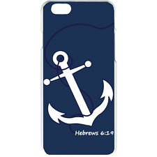 Navy Blue Faith Anchor with Hebrew 6:19 Design iPhone 6 Slim White Case Cover