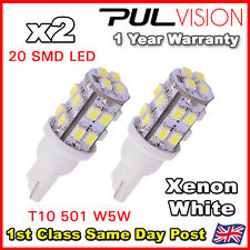 2 x White 20 SMD LED 501 T10 W5W Side / Number Plate / Interior Light