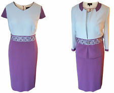 SIZE 22 MOTHER OF THE BRIDE GROOM OUTFIT 2 PIECE JACKET DRESS PURPLE MAUVE IVORY