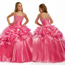 Hot Pink Flower Girl Dresses For Wedding Girls Pageant Dresses Kids Party Gowns