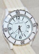 Anne Klein White Ceramic Watch White Silicone Band 10/9419 New Battery