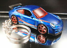 Porsche 911 GT3 RS Key Chain Ring Diecast 3D Fob Blue